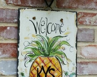 Pineapple welcome sign 10x14 Original hand painted slate.