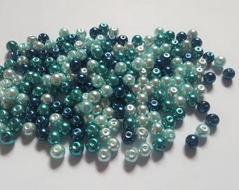 Carribean blue pearl mix, Glass pearl mix, Glass pearl beads, Bead mix, Bead soup, Glass pearls, Glass beads, Pearl beads, Jewellery making