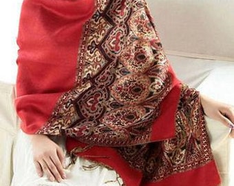 Red Paisley and Floral Shawl