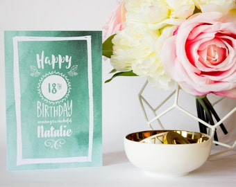 Personalised Birthday Card - Personalised Greeting Card - Watercolor - Hand Lettering