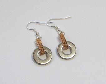 Yellow Industrial Earrings - Washer Earrings - Steampunk Jewelry - Metal Earrings - Hardware Earrings - Yellow Beaded Earrings