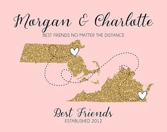 Best Friend Long Distance Print, Gift Friend Glitter Custom Maps, Mom, Sister, Daughter, Best Friend Moving Gift, Farewell, Blush Gold | WF7