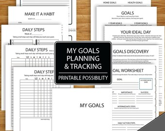 Goal Planning and Tracking Packet in Black and White  - 11 Pages incl.cover - A5 Size - Digital Files - Resolutions and Goal Printables