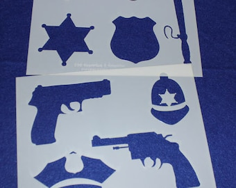 "2 Piece Police Department Set  8"" x 10"" - Stencil-  14 Mil Mylar"