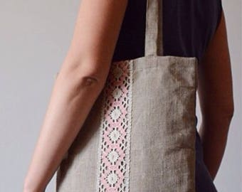 100% LINEN tote bag with various of laces