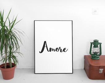 Printable Quotes, Amore, Printable Art, Wall Art, Motivational Print, Motivational Poster, Home Decor, Typography Art