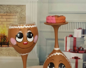 Gingerbread wine glass, Christmas decoration, gingerbread man candle holder with dessert candle. NEW