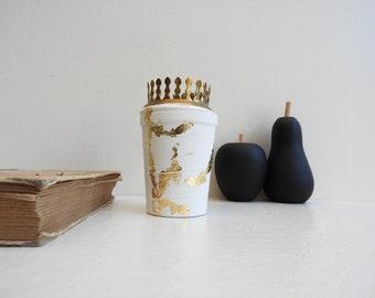 Concrete - concrete candle candleholder - decorative concrete-gold deco style wabi-sabi - gift idea