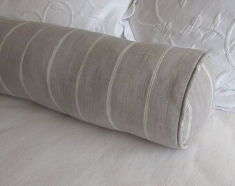 7x20 silvery gray bolster pillow includes insert creamy stripes