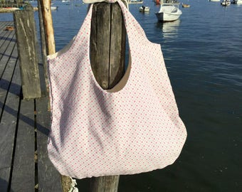 Tote, tote bag in cotton polka dot pink and purple shades, knotted handles.