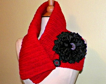 Red Cowl Scarf Infinity Button Neckwarmer Collar  With Flower Brooch Freeform Crochet