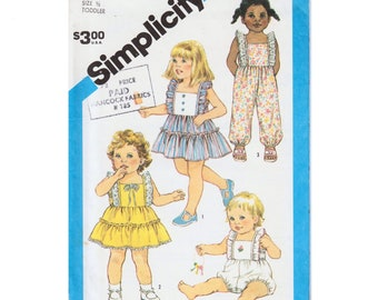 Baby Dress Pattern Baby Romper Pattern Baby Sundress SIMPLICITY 6476 UNCUT size 1/2 Baby Clothes Pattern Baby Jumpsuit Toddler Girl Clothes