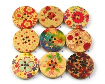 1 Set 200 Pieces 30mm Flower Painted Wood Buttons Floral Assortment Buttons (ZH23)