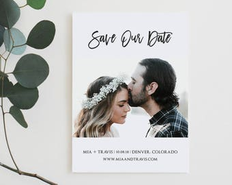 Printable Save the Date, Photo Save the Date Card, Modern Save the Date, Simple, Minimalist, Engagement Announcement, Wedding Save Date Card