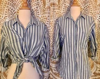 VTG 90s Striped DENIM Button Boyfriend Oversized Grunge Shirt Top M/L