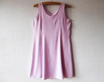 Pink Summer Dress Polka Dot Dress Summer Mini Dress Pale Pink Dress Sleeveless Sundress Pink Viscose Dress Boho Hippie Large Size Dress
