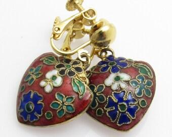 Vintage Enamel Heart Earrings Cloisonne Jewelry Earrings