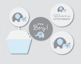 Elephant Baby Shower Cupcake Toppers and Cupcake Wrappers Printable It's a Boy AND Girl - Instant Printable Download - Blue Elephant 0024-B
