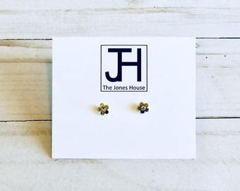 Gold Rhinestone Flower Stud Earrings, Easter, Earrings, Bridesmaid Gift, Birthday Gift, Mothers Day Gift, Jewelry, Daisy, The Jones House