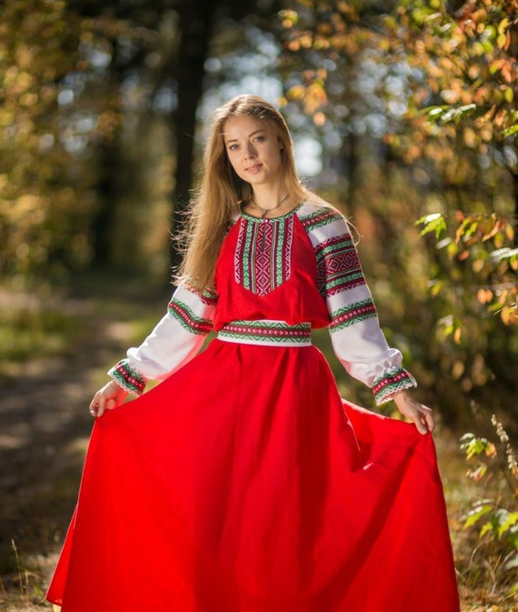 Traditional Russian Long Sleeve Linen Sarafan