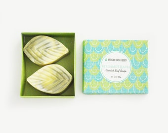 Bergamot Leaves Soap Set | Two Decorative Leaf Soap Pack