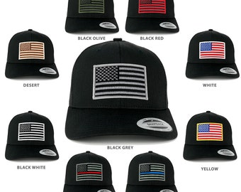 FLEXFIT American Flag Patch Snapback Trucker Mesh Cap (6606-BLACK)
