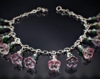 Charm bracelet, flower charm bracelet, pastel bracelet, Dainty flower bracelet, pink bracelet, silver bracelet, bohemian glass beads, Bangle,