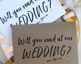Will You Read at our Wedding Card, Reader Card, Wedding Reading Card, Bridal Party Card, Rustic Wedding Card