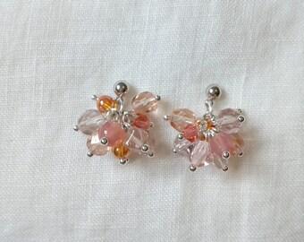 Orange Rose Bunch Earrings