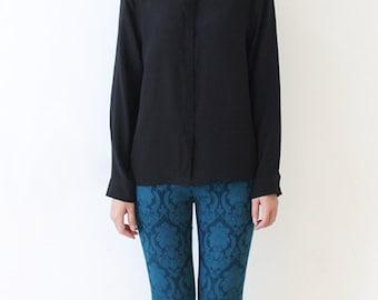 Womens Silk Shirt Button Down Shirt Blouse Casual Shirt Long Sleeve Shirt, Black, Red