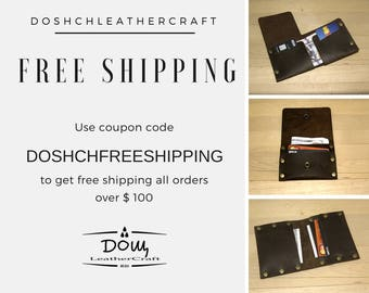 Free shipping coupon code, Free shipping on orders over 100 USD, Free shipping wallets and accessories. Use Coupon Code, Doshch