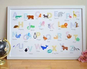 Animal Alphabet / Nursery Decor / Playroom Wall Art / Baby Alphabet Poster / ABCs