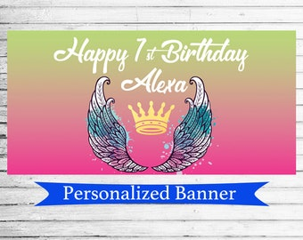 Personalized Angel Wings Banner | Angel Wings | 1st Birthday Party | Angelic Baby Shower | Angelic Bridal Shower Banner