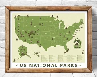 National Park  Map, Outdoor explorer gift, Hiking Art Print, Explorer map print, green home decor