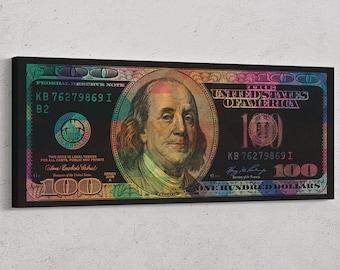 100 Dollar Bill Canvas - 100 Dollar bill abstract canvas print - dollar bill print - ready to hang canvas print
