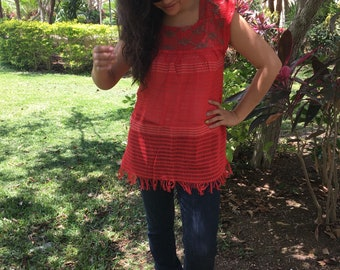 Traditional Mexican strawberry blouse of loom with details
