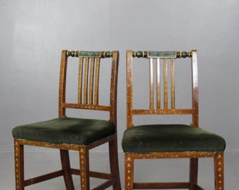 Pair Painted Dining Chairs