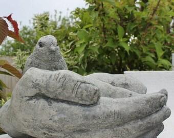 Bird in Hands, Bird Feeder, Bird Bath, Stone Garden Decoration, Made in Cornwall, Cornwall Stoneware, Outdoor living, Gift idea