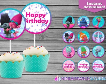 Trolls Cupcake Toppers, Trolls Birthday Cupcake Toppers, Trolls Birthday party supply
