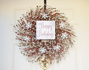 Happy Holidays Berry wreath Wood sign wreath Red Green white pip berries White Tin Snowflakes Holiday Front Door wreath Christmas wreath