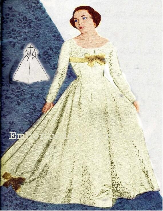 Vintage Sewing Pattern 1956 Wedding Dress PDF Plus Size or