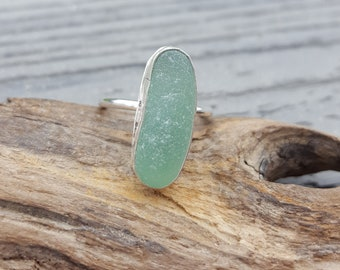 Sea Glass Ring Mini Ring Stacker Ring Stacking Ring Aqua Sea Glass Ring Aqua Sea Glass Jewelry  Size 6 - R-190 Mothers Day Sale