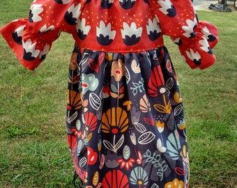 Girls Fall Dress - Peasant Dress -  Southwest Dress -  Terra Cotta & Charcoal Grey Dress - Groovy Gurlz