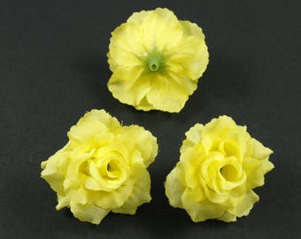Set of 3 artificial flowers without stem 4cm - yellow