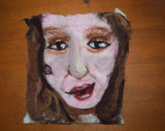 Face. Original wet and needle felted Art work