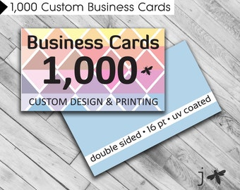 """1,000 Custom Business Cards - Custom Design and Printing - 3.5"""" x 2"""" UV Coated or Matte Finish"""