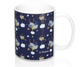 Mug 11 Oz Christmas Reindeer Cloud Blue
