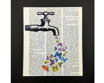 Vintage Dictionary Page Art Print |  Butterflies on Tap with Sparks of Glitter