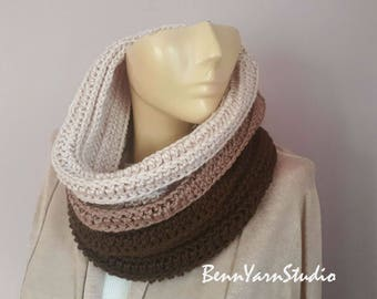 Women Knit Snood Cowl_Trendy Neckwarmer_Ombre Infinity Scarf_Winter Ombre Snood Scarf_Spring Scarf_Hooded Scarf_