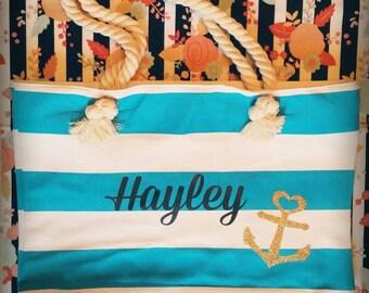 Beach bag, beach tote, customized beach bag, lake bag, carry on bags ,beach accessories, wedding gifts,cute bags, beach, graduation gift